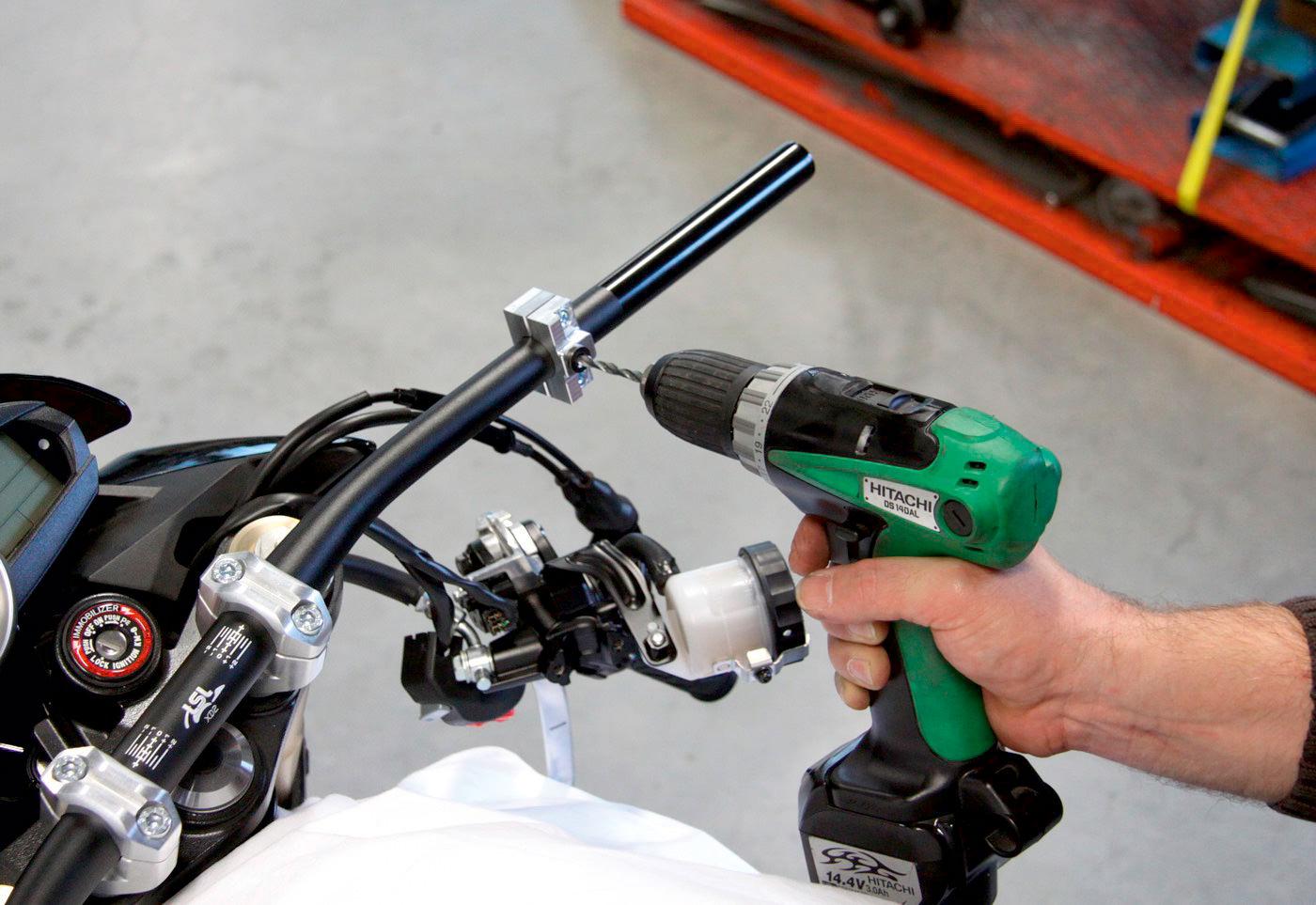Drill holes new handlebar